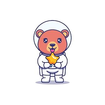 星を運ぶ宇宙飛行士のスーツを着ているかわいいクマ
