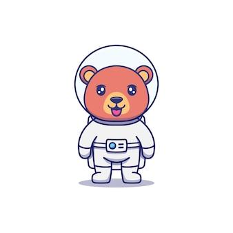宇宙飛行士のスーツを着ているかわいいクマ