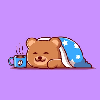 Cute bear wearing blanket with hot coffee cup cartoon illustration.