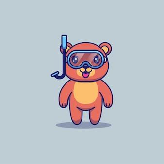 다이빙 고글을 쓴 귀여운 곰