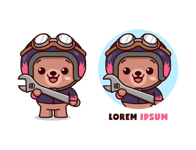 Cute bear wearing helmet and jacket and brings a wrench in cartoon style