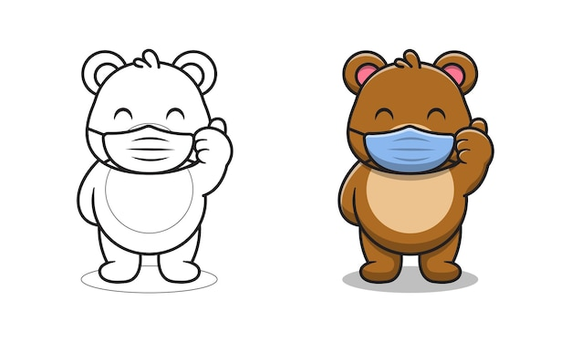 Cute bear wearing mask cartoon for coloring