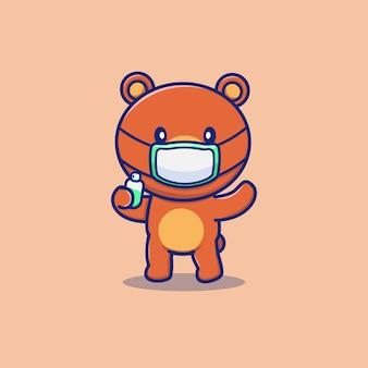 Милый медведь носить маску, холдинг дезинфицирующее средство мультяшный векторная иллюстрация значок животное и здоровье значок концепции изолированных премиум вектор. плоский мультяшный стиль
