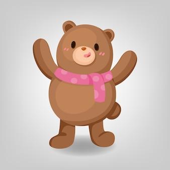 Cute bear wearing pink scarf on white