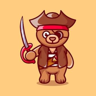 海賊のハロウィーンの衣装を着てかわいいクマ