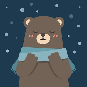 Cute bear wearing scarf enjoying winter, vector illustration.