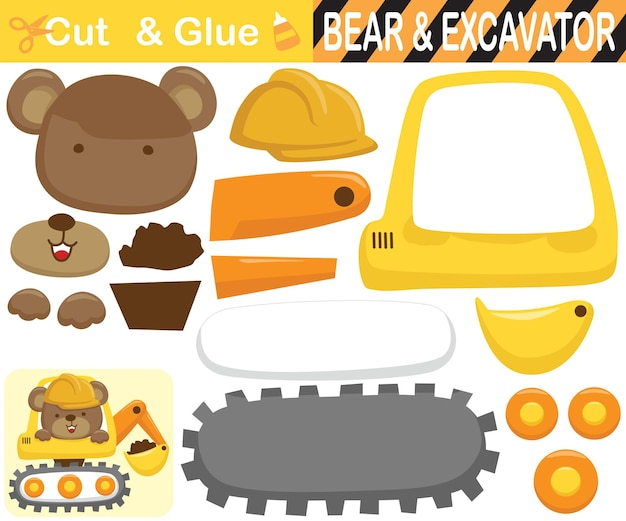 Cute bear wearing worker helmet on excavator. education paper game for children. cutout and gluing.   cartoon illustration