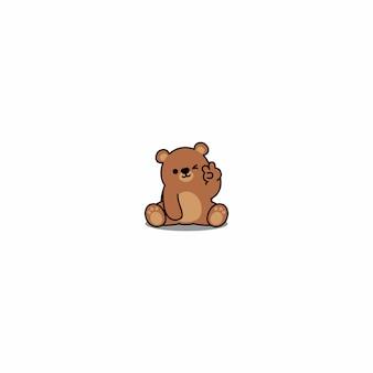 Cute bear winking eye cartoon icon