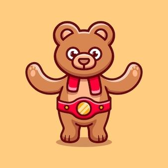 귀여운 곰이 복싱 경기에서 승리했습니다.