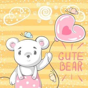 かわいいクマ、風船。
