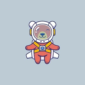 宇宙飛行士のスーツとかわいいクマ
