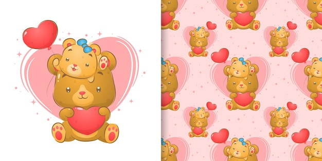 Cute bear with baby bear holding heart balloons in seamless illustration