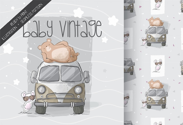 Cute bear with baby mouse on car seamless pattern