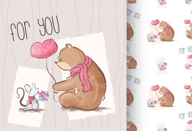 Cute bear with baby mouse cartoon animal seamless pattern