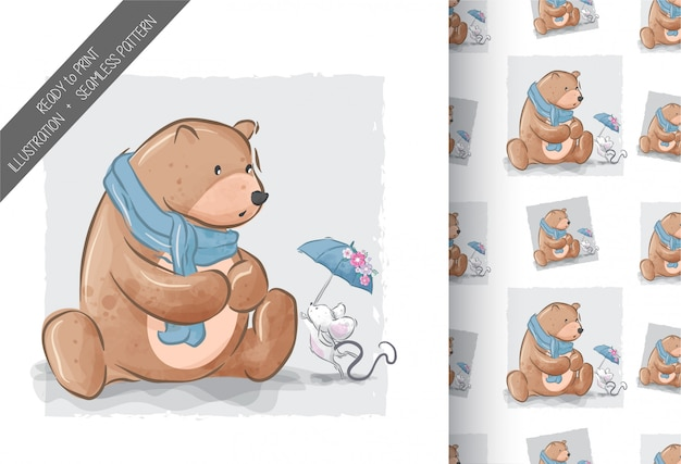 Cute bear with baby mouse illustration seamless pattern
