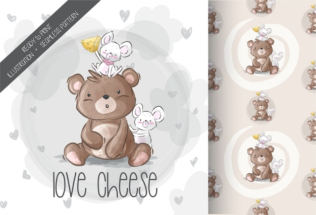 Cute bear with baby mouse love cheese seamless pattern