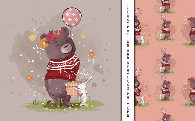 Cute bear with balloon illustration for kids