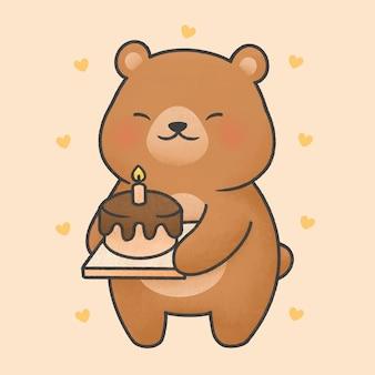 Cute bear with birthday cake cartoon hand drawn style
