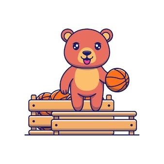 バスケットボールがいっぱい入った箱が付いたかわいいクマ