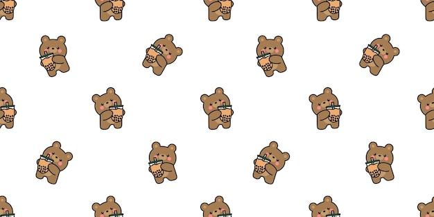 Cute bear with bubble tea cartoon seamless pattern, vector illustration