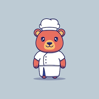 Cute bear with chef uniform
