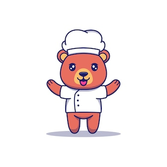 요리사 유니폼을 입은 귀여운 곰