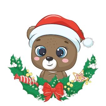 Милый медведь с рождественским венком.