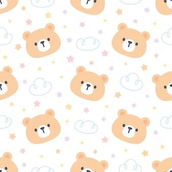 Милый медведь с облаками и звездами бесшовный фон