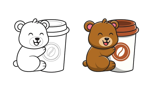 Cute bear with coffee cartoon for coloring