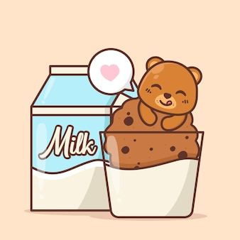 Cute bear with cookie and milk