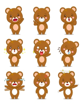 다른 표정으로 귀여운 곰