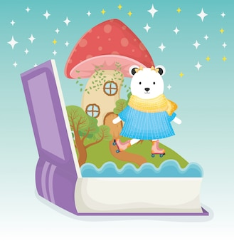 Cute bear with dress and roller skate book fantasy fairy tale