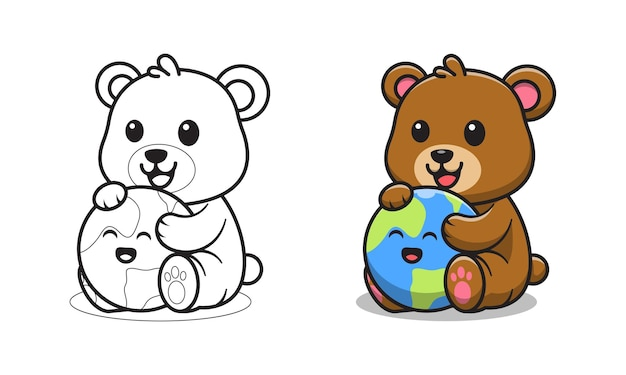 Cute bear with earth cartoon for coloring