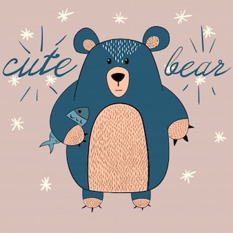 Cute bear with fish illustration. idea for print t-shirt.