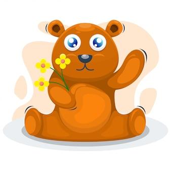 Cute bear with the flower cartoon