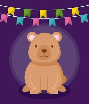 Cute bear with garlands hanging