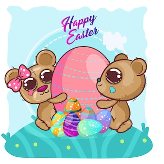 Cute bear with happy easter egg. vector copy