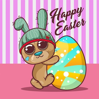 Cute bear with happy easter egg. vector