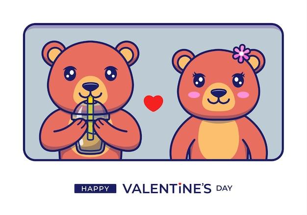 幸せなバレンタインデーの挨拶でかわいいクマ