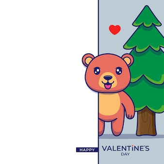 Cute bear with happy valentine's day greeting