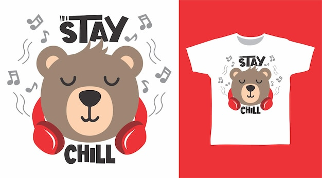 헤드폰 tshirt 디자인으로 귀여운 곰