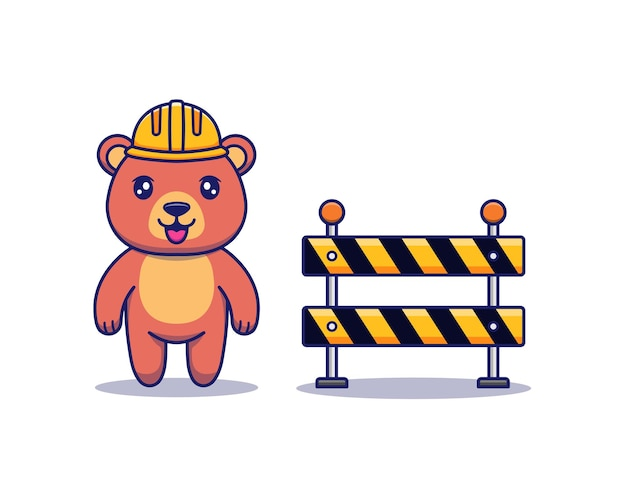 헬멧과 장애물이 있는 귀여운 곰