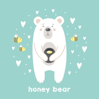 Cute bear with honey and bees on mint background