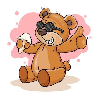 アイスクリーム漫画アイコンイラストとかわいいクマ。白い背景で隔離の動物アイコンの概念