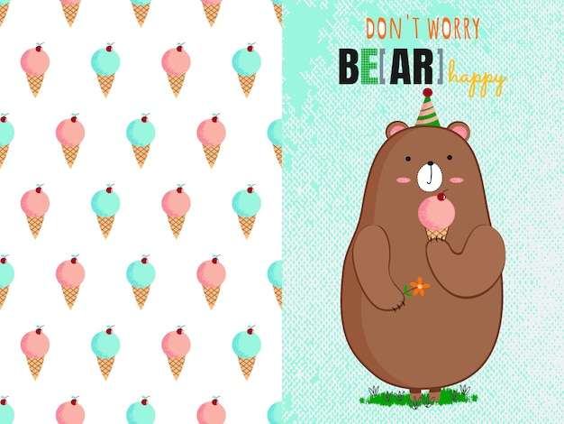 Cute bear with ice cream and ice cream seamless pattern
