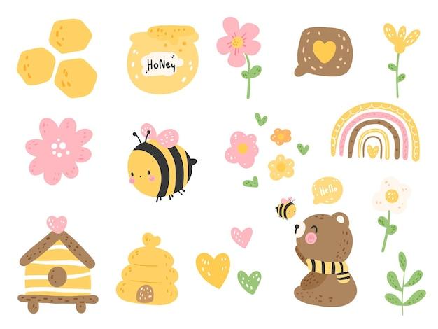Cute bear with little bee, spring season.