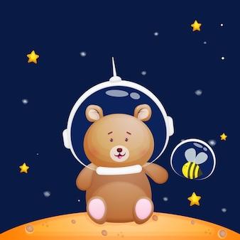 宇宙飛行士のヘルメットをかぶった小さな蜂とかわいいクマ動物漫画