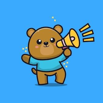 Cute bear with megaphone cartoon illustration