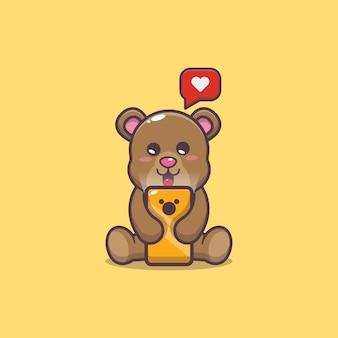 Cute bear with mobile phone cartoon vector illustration