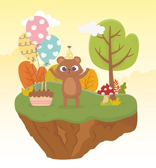 Cute bear with party hat cake balloons celebration happy day illustration